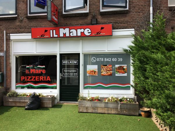 Sign - raambelettering il mare pizzaria alfa reclame